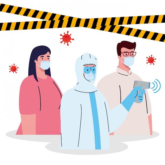 Desinfecção, pessoa em traje de proteção viral, com termômetro infravermelho digital sem contato, par em temperatura de controle Vetor Premium