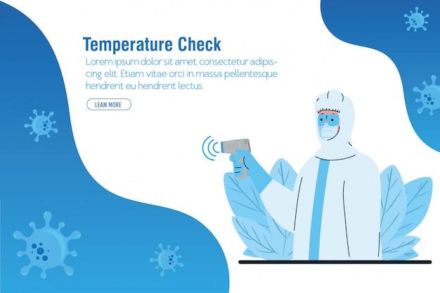 Desinfecção, pessoa em traje de proteção viral, com termômetro infravermelho digital sem contato Vetor Premium