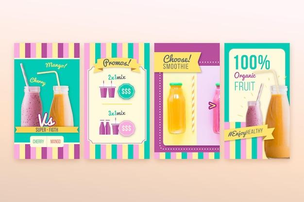 Desintoxicação orgânica smoothie bar instagram stories Vetor grátis