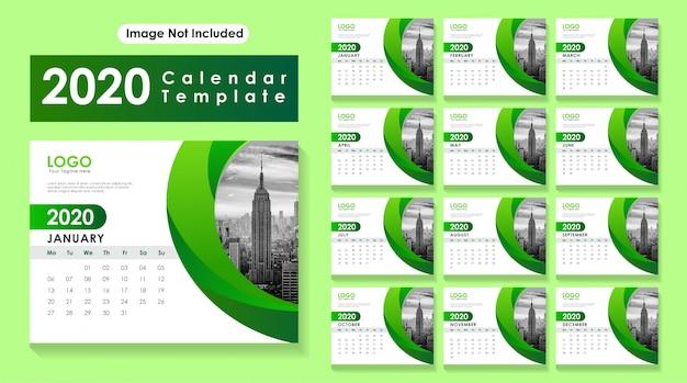 Desk calendar 2020 Vetor Premium