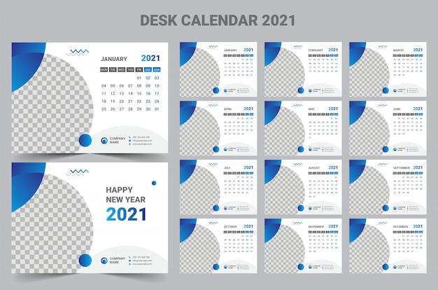 Desk calendar 2021   Vetor Premium