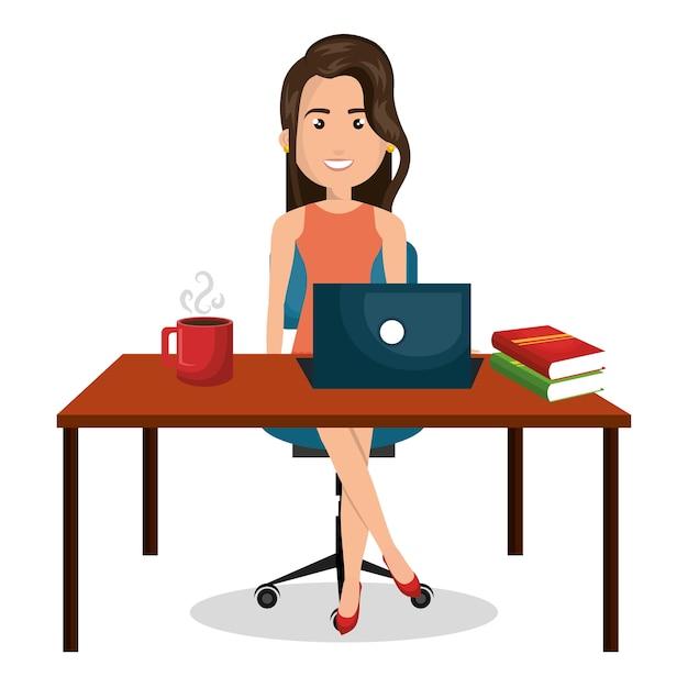 foto de Desktop de trabalho de escritório de empresária de