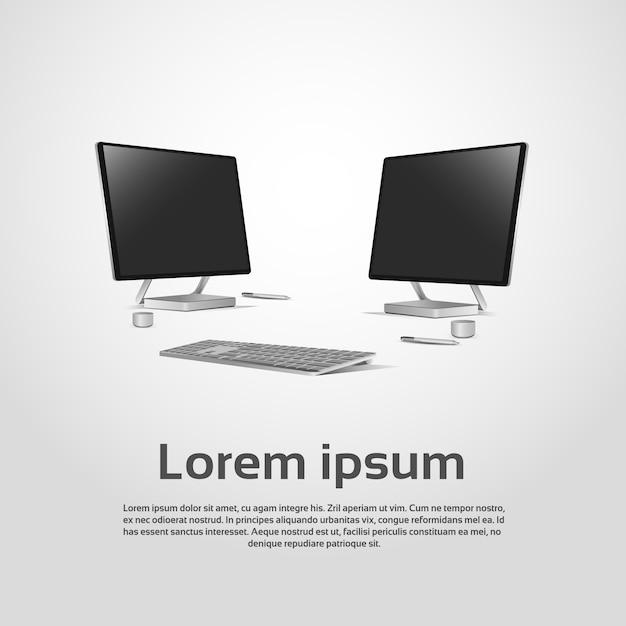 Desktop logo modern computer workstation ícone ilustração vetorial Vetor Premium