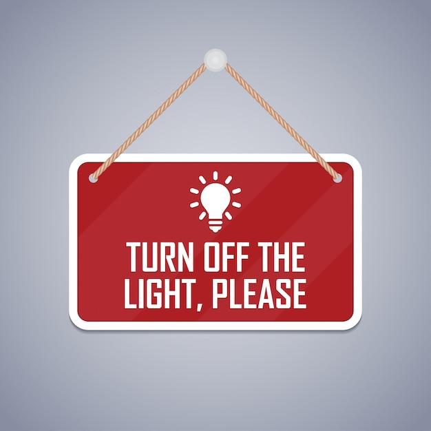 Desligue a luz, por favor, tabuleta. Vetor Premium