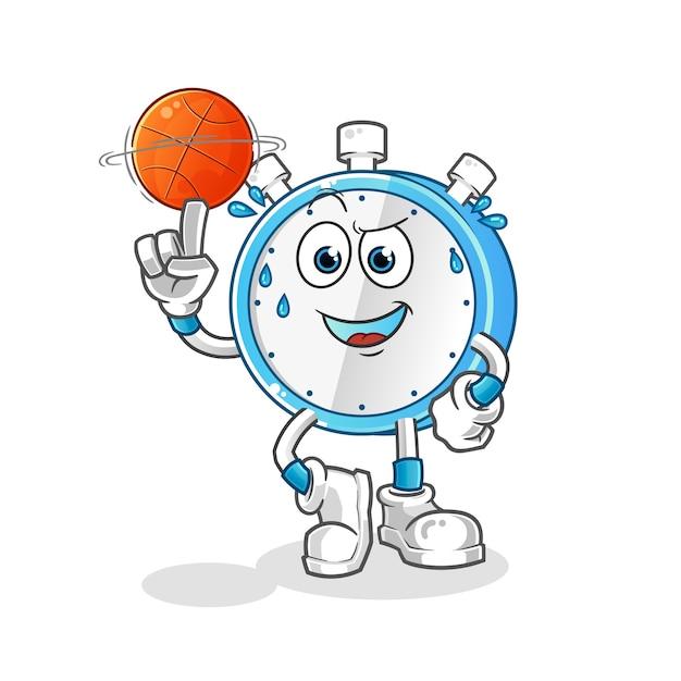 Despertador jogando basquete Vetor Premium