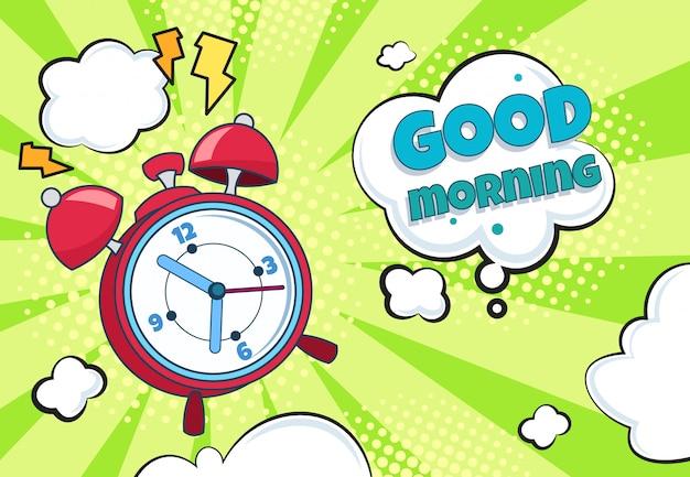 Despertador pop art. desenhos animados retrô tempo acordar contagem regressiva surpresa assistir temporizador engraçado. relógio de banda desenhada dos desenhos animados Vetor Premium