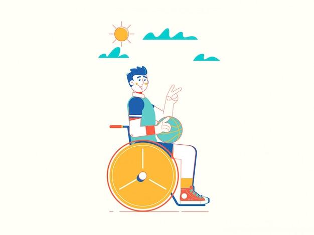 Desportista jovem com deficiência em cadeira de rodas Vetor Premium