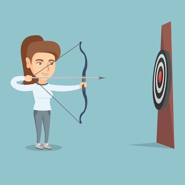 Desportista, mirando com um arco e flecha no alvo. Vetor Premium