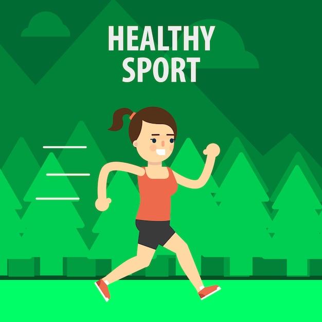 Desporto ao ar-livre. garota correndo na rua Vetor Premium