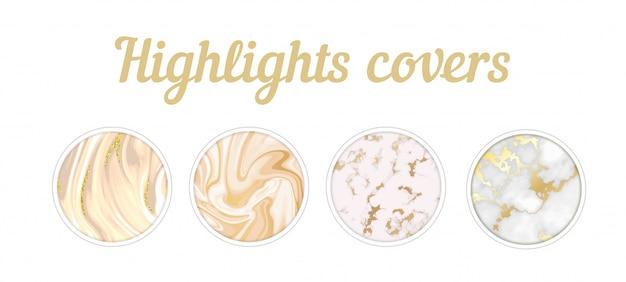 Destaques cobre conjunto de mármore dourado Vetor Premium