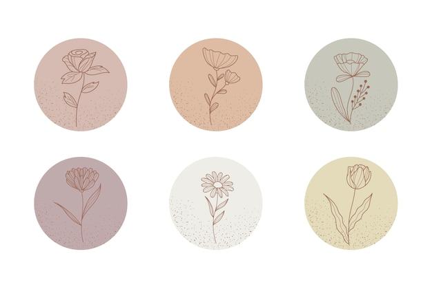 Destaques de histórias florais desenhadas à mão do instagram Vetor Premium
