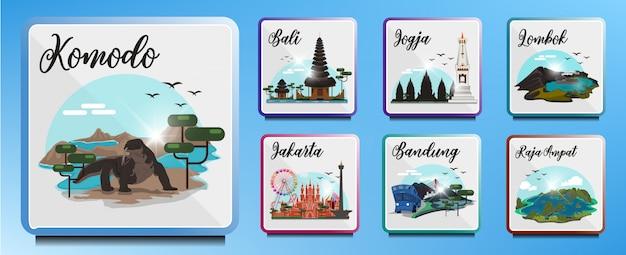 Destinos turísticos na indonésia Vetor Premium