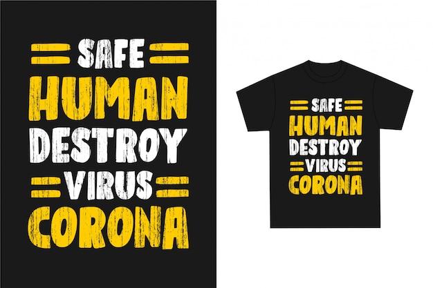 Destruição humana segura - tipografia gráfica de camiseta Vetor Premium