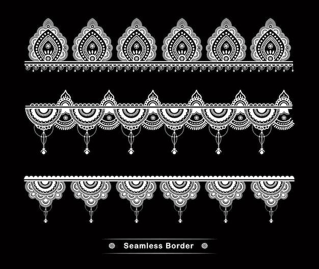 Detalhes de design de borda de mandala sem costura alta Vetor Premium