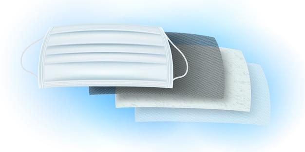 Detalhes dos materiais de filtro para máscaras antivírus e à prova de poeira. camada de carbono revestida com anti-séptico, antibacteriano e odor. camada de fibra fina, poeira, camada de ozônio para criar ar fresco. Vetor Premium