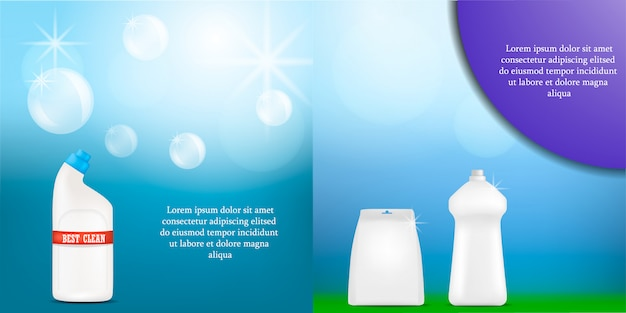 Detergente garrafa limpeza em pó lavagem banner maquete conjunto Vetor Premium