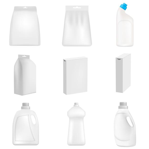 Detergente garrafa limpeza pó lavagem maquete definido. ilustração realista de 9 mamadeiras de detergente em pó limpeza maquiagens para web Vetor Premium