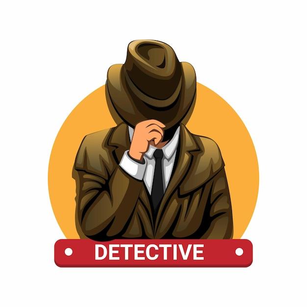 Detetive com conceito de personagem de chapéu na ilustração dos desenhos animados Vetor Premium