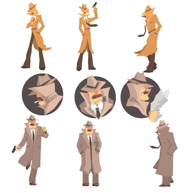 Detetive de polícia e investigador particular no trabalho investigando e resolvendo crimes conjunto de retratos disfarçados Vetor Premium