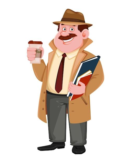 Detetive fazendo uma pausa para o café Vetor Premium
