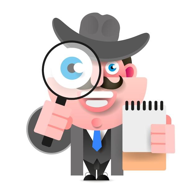 Detetive segurando uma lupa. ilustração vetorial Vetor Premium