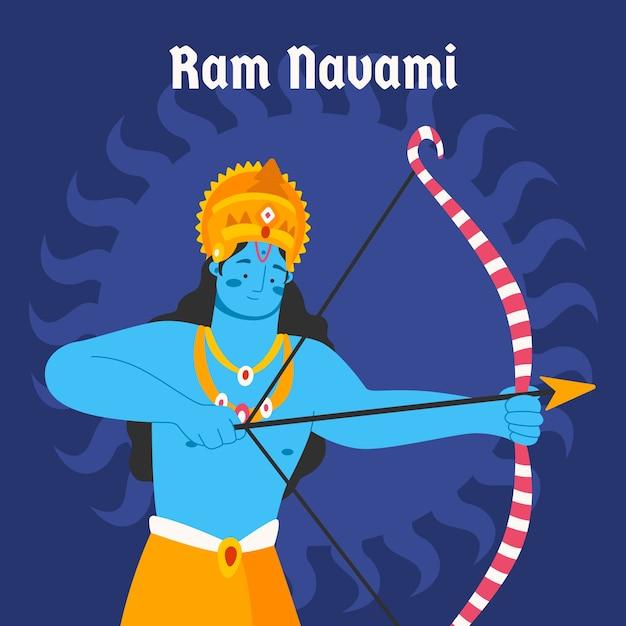 Deus de navami de ram design plano ilustrado Vetor grátis