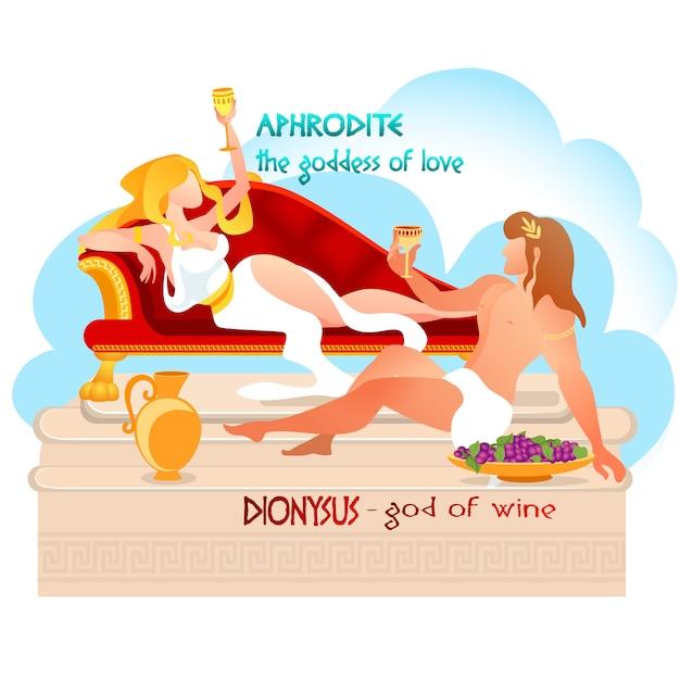 Deus dionísio com deusa afrodite bebendo videira. Vetor Premium
