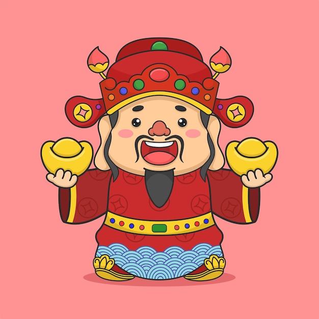 Deus fofo da fortuna chinesa segurando duas moedas Vetor Premium
