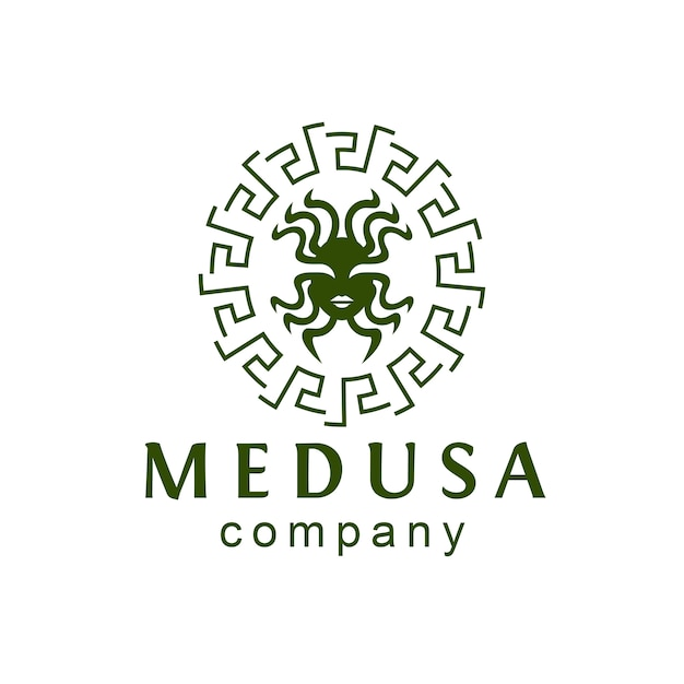 Deusa medusa logo Vetor Premium