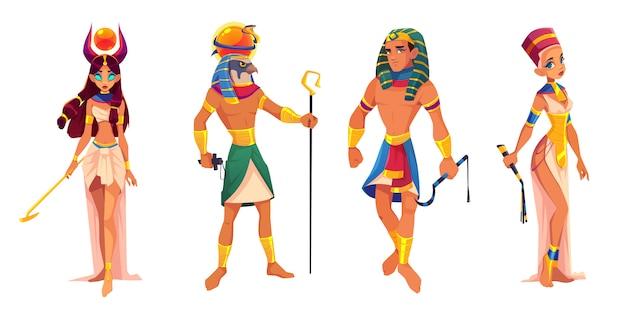 Deuses do antigo egito e governantes hathor, ra, faraó, nefertiti, divindades egípcias, rei e rainha com atributos de religião Vetor grátis