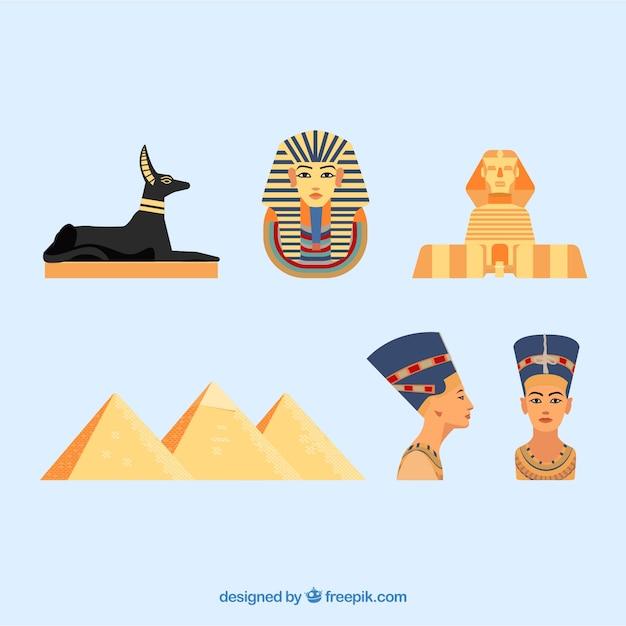 Deuses egípcios e coleção de símbolos com design plano Vetor grátis