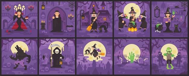 Dez cenas de halloween com bruxas, vampiros, zumbis, lobisomens e ceifador. coleção de ilustração plana de halloween Vetor Premium