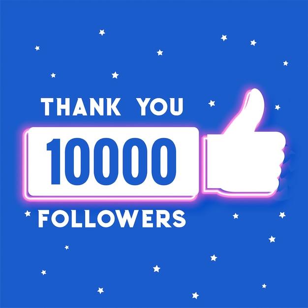 Dez mil seguidores de mídia social e modelo de assinantes Vetor grátis