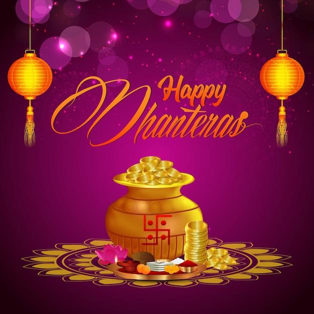 Dhanteras felizes, fundo de celebração diwali feliz com diya e pote de moedas de ouro Vetor Premium