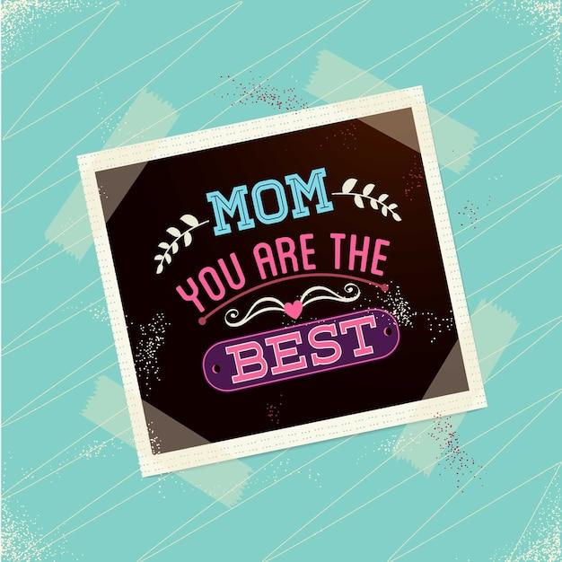 Dia cartão polaroid livre da mãe Vetor grátis
