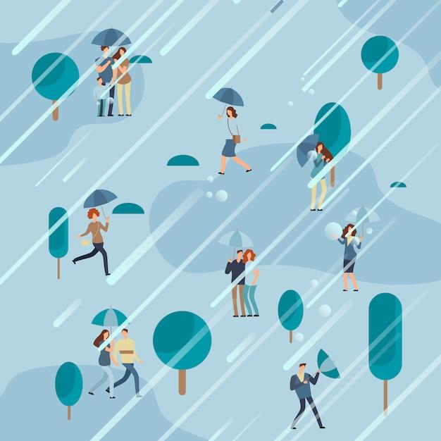 Dia chuvoso no parque com guarda-chuvas de pessoas Vetor Premium