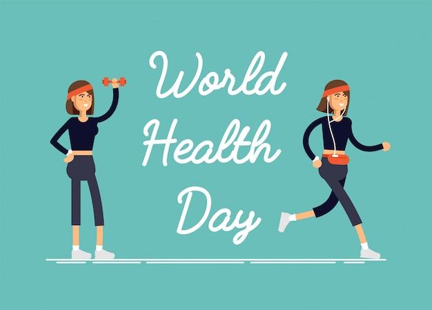 Dia comemorativo do dia mundial da saúde com feamel realizando exercícios físicos, exercícios de fitness, esportes. Vetor Premium