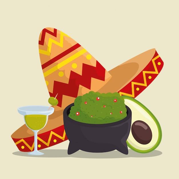 Dia da celebração morta com chapéu e comida Vetor grátis