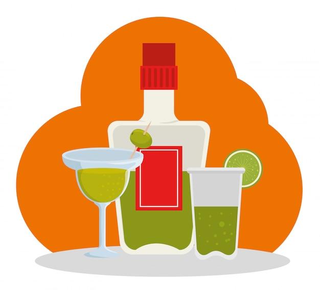 Dia da celebração morta com garrafa de tequila Vetor grátis