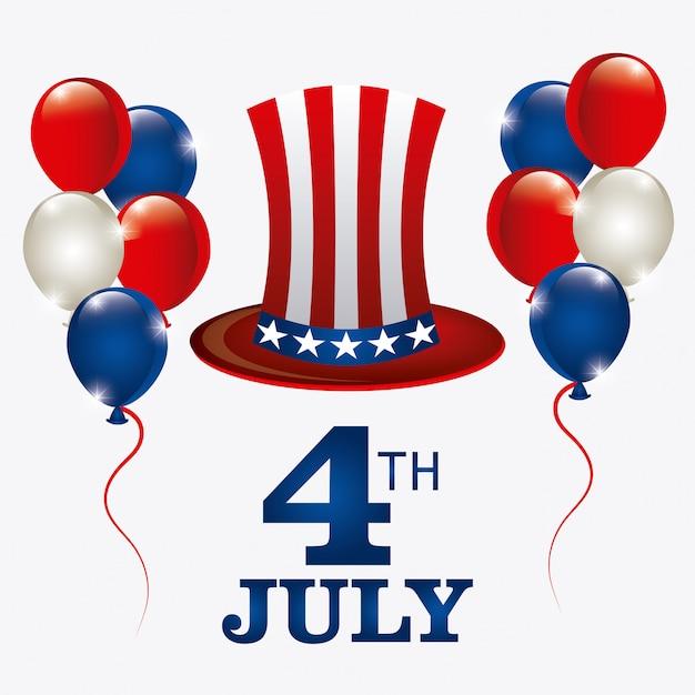 Dia da independência 4 de julho eua design Vetor grátis