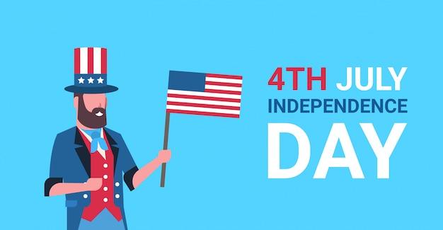Dia da independência 4 de julho homem barba roupas tradicionais bandeira dos eua comemorando boné Vetor Premium