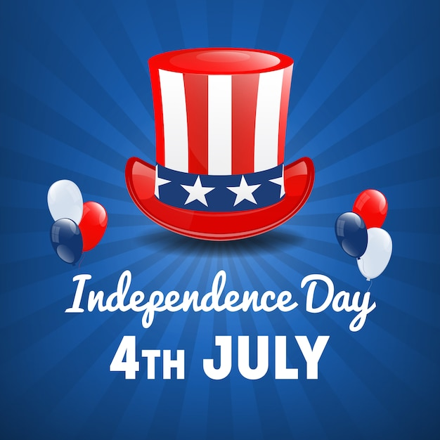Dia da independência americana. 4 de julho feriado nos eua. fundo do dia da independência. ilustração vetorial Vetor Premium