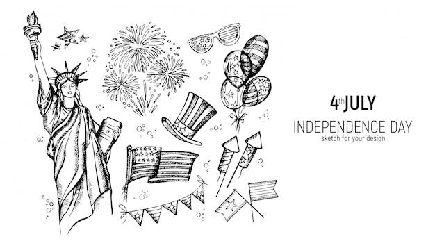 Dia da independência da américa Vetor Premium