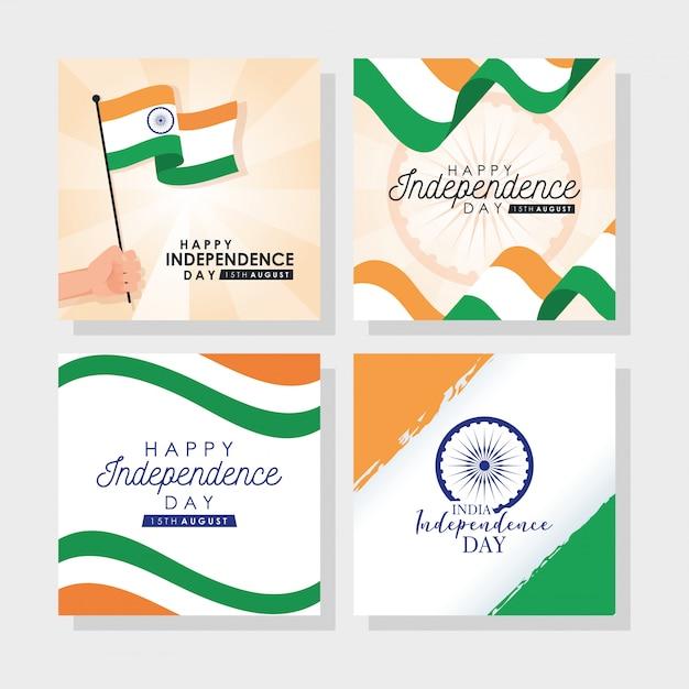 Dia da independência da índia com bandeiras e conjunto de ícones Vetor Premium
