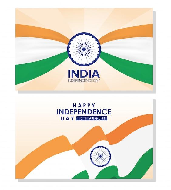 Dia da independência da índia com bandeiras Vetor Premium