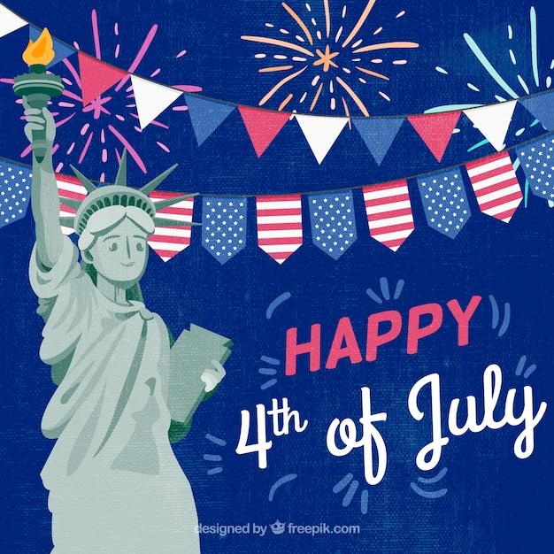 Dia da independência de 4 de julho de fundo em estilo simples Vetor grátis