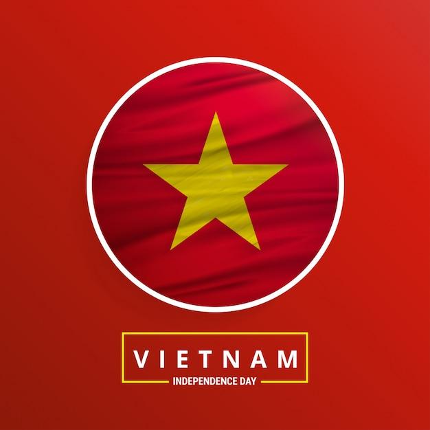 Dia da independência do vietnã ondulando bandeira no fundo abstrato vermelho Vetor grátis