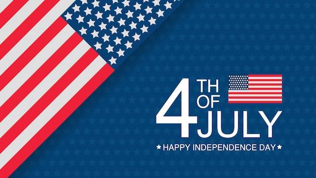 Dia da independência dos eua celebração banner modelo com bandeira americana Vetor Premium