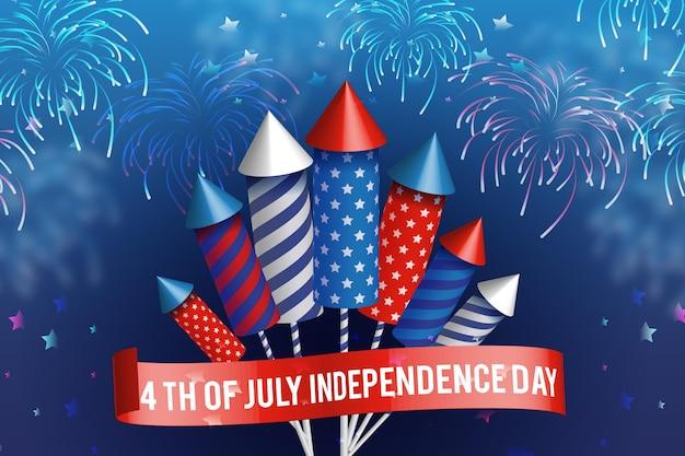 Dia da independência dos eua fogos de artifício realistas Vetor grátis