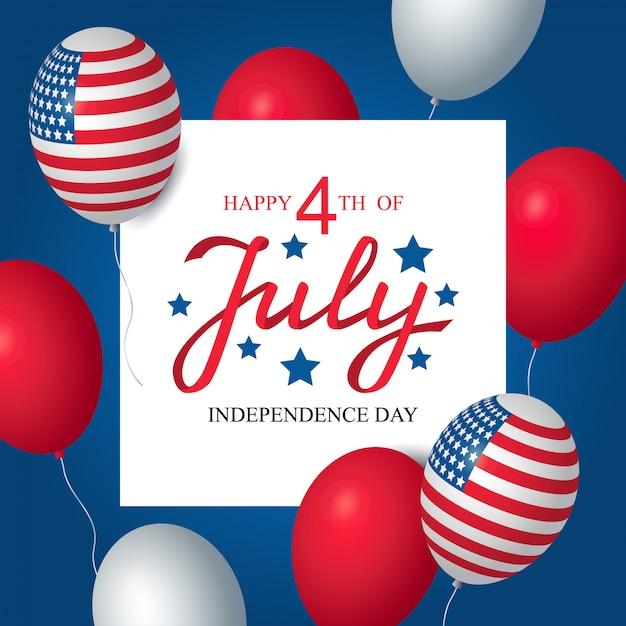 Dia da independência eua celebração banner modelo americano balões bandeira decoração Vetor Premium